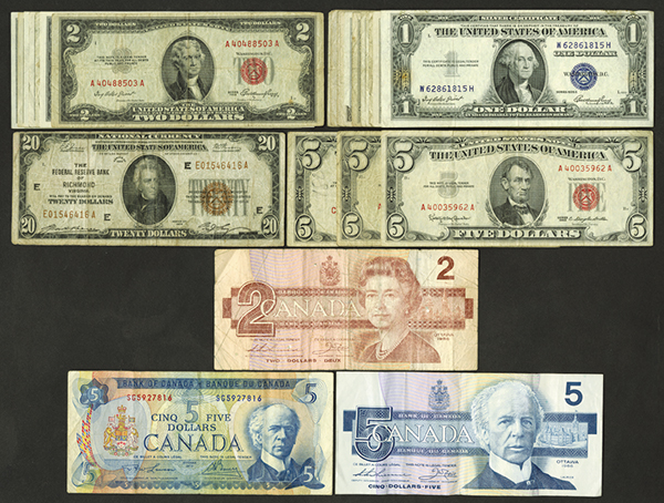 U.S. Small Type $64 Face and Canada $12 Face.