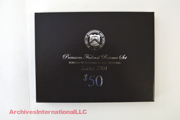 BEP Premium Federal Reserve $50 Set Fr. 2128-A-L $50 2004 Federal Reserve Notes.