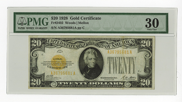 Gold Certificate. Fr. 2402 $20 1928 PMG Very Fine 30.