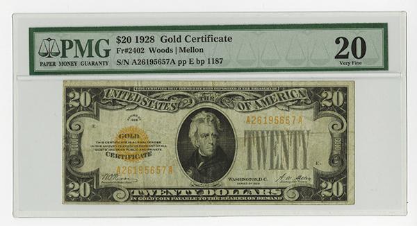 Gold Certificate. Fr. 2402 $20 1928, PMG Very Fine 20.