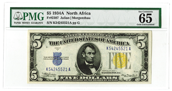 Silver Certificate - North Africa, $5, Fr#2307, PMG graded Gem Unc. 65.