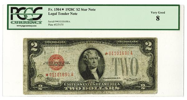 U.S. Note, Legal Tender $2* Note, 1928C, Fr#1504.