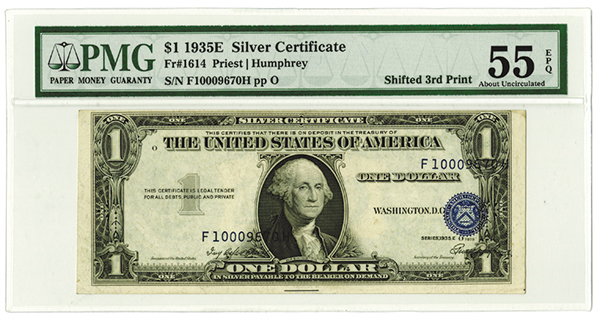 Silver Certificate - $1, 1935E, Fr#1614 Error Note, Shifted 3rd Printing.