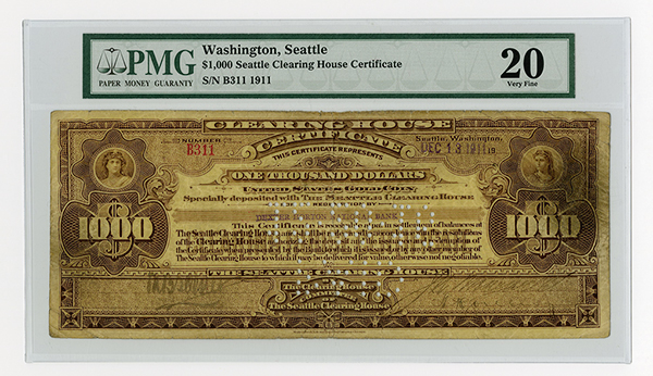 Seattle Clearing House Certificate, 1911, Issued Banknote.