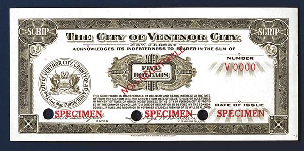 City of Ventnor City, 1933, $5 Specimen Depression Scrip.