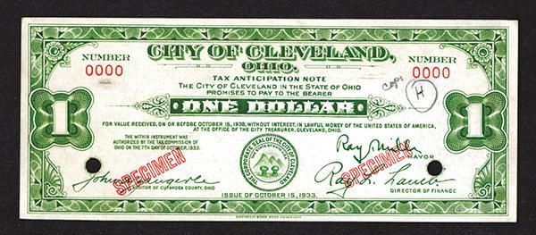 Cleveland. 1933 Specimen Depression Scrip.