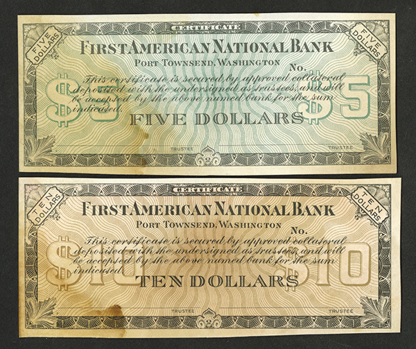 First American National Bank Depression Era ND (1933) Depression Certificate issues.