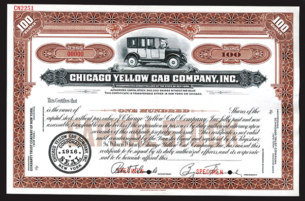 Chicago Yellow Cab Company, Inc., 1916 Specimen Stock Certificate.