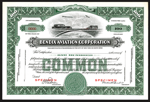 Bendix Aviation Corporation, ca. 1920-30's Specimen Stock Certificate.