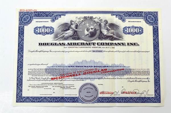 Douglas Aircraft Co. Inc., 1966 Specimen Bond
