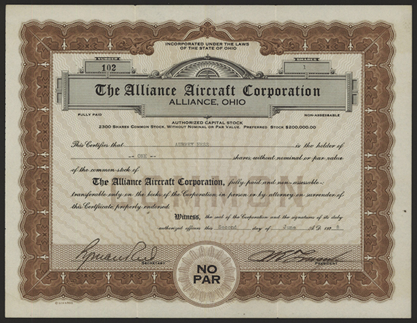 Alliance Aircraft Corp., 1928 Issued Stock