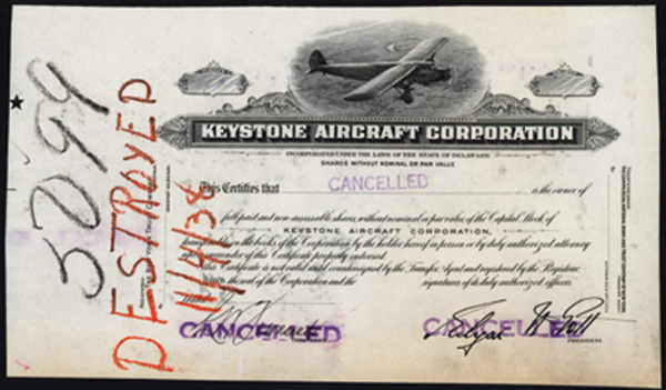 Keystone Aircraft Corp. Proof Stock.