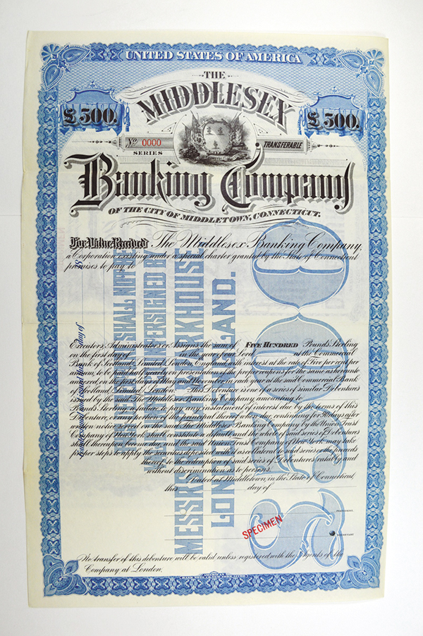 Middlesex Banking Co., ca.1890-1900 Specimen Bond.