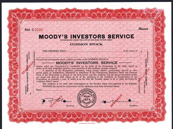 Moody's Investors Service, ca.1950-1960 Specimen Stock.
