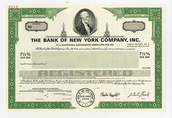 Bank of New York Co., Inc., 1991, Specimen Registered Bond.