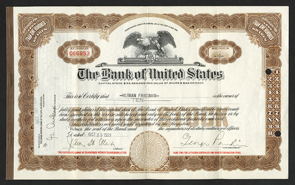 Bank of United States - Bankus Corporation, October 29th, 1929 Issued Stock Certificate Pair.