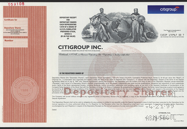 Citigroup Inc., 1999 Specimen Stock.