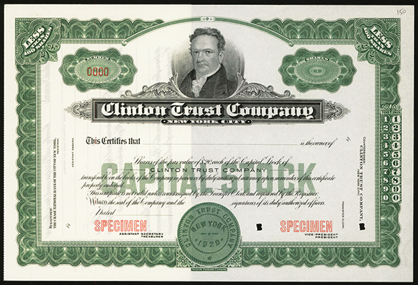 Clinton Trust Co., ca.1930 Specimen Stock.