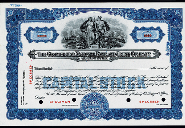 Commercial National Bank and Trust Co., ca.1930 Specimen Stock.