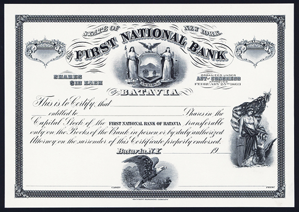 First National Bank of Batavia, ca.1920's Proof Stock.