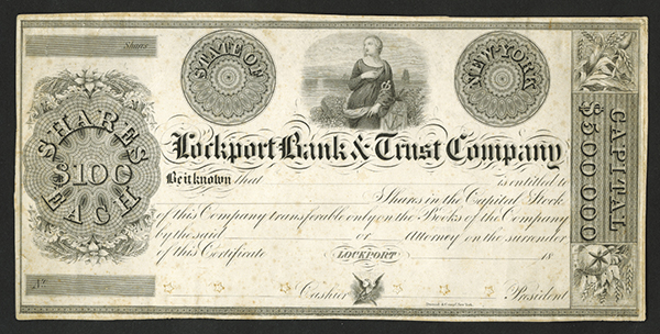 Lockport Bank & Trust Co., 18xx (ca.1830's) Proof Stock Certificate.