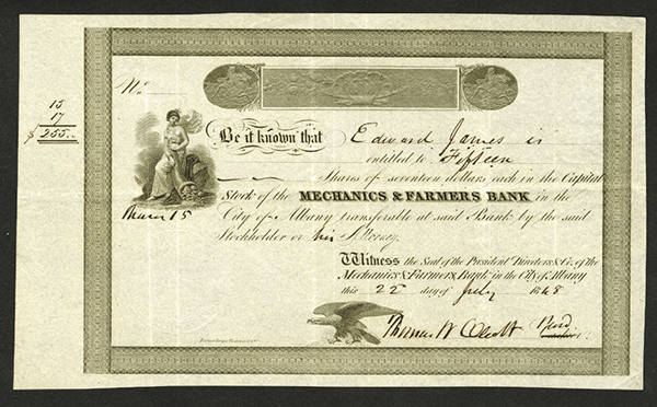 Mechanics & Farmers Bank, 1848 Stock Certificate.