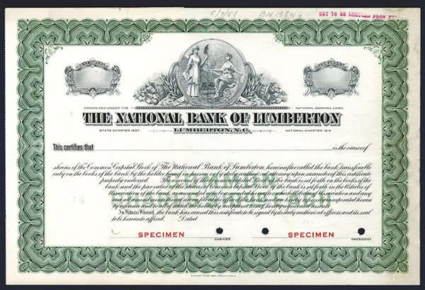National Bank of Lumberton, ca.1951 Specimen Stock