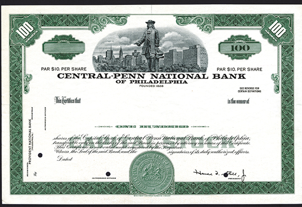 Central-Penn National Bank of Philadelphia, ca.1950-1960 Stock Proof.