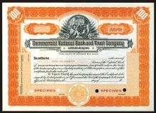 Commercial National Bank and Trust Co. of Philadelphia, ca.1920-1930 Specimen Stock.