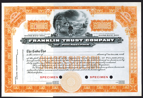 Franklin Trust Co., of Philadelphia, ca.1940-1950 Specimen Stock.