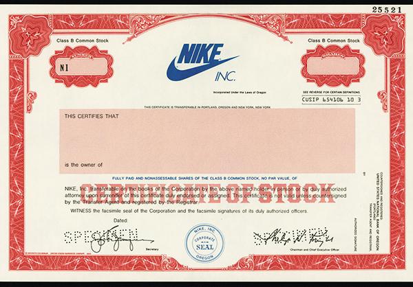 Nike Inc, ca.1980 Specimen Stock