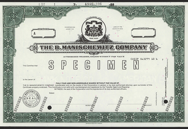 B.Manischewitz Co., 1988 Specimen Stock.