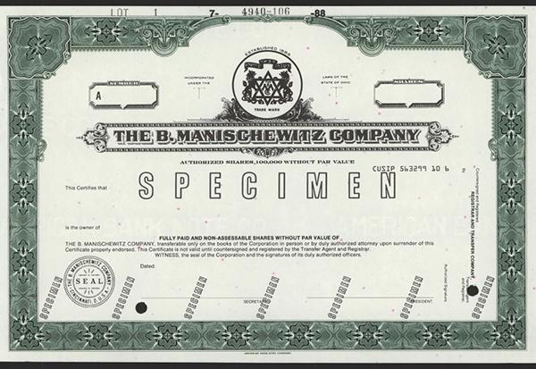 B.Manischewitz Co., 1988 Specimen Stock.