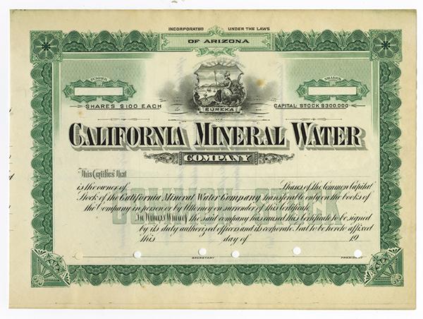 California Mineral Water Co., ca.1910 Specimen Stock