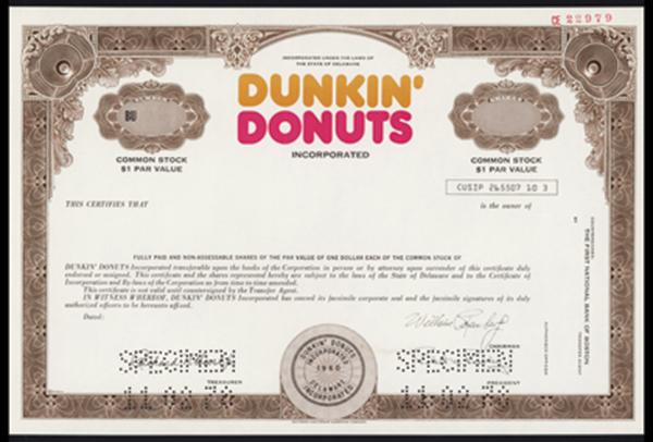 Dunkin Donuts Inc., 1978 Specimen Stock.