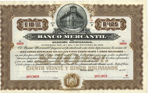 Banco Mercantil ca.1900 Specimen Bond
