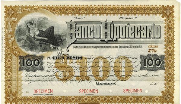 Banco Hipotecario ca.1880's Specimen Bond.