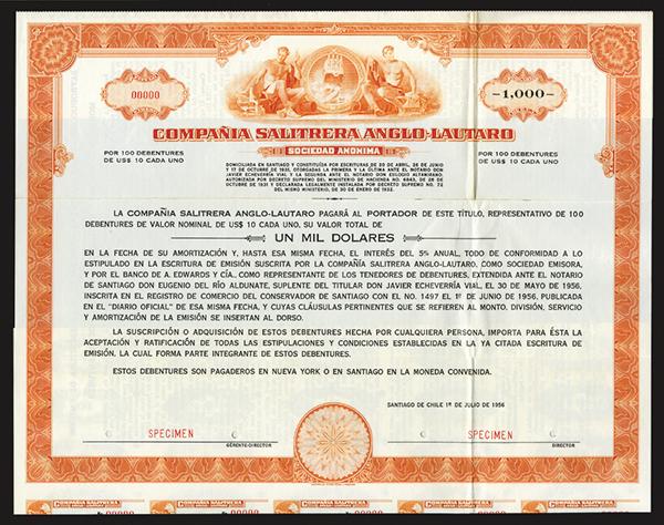Compania Salitrera Anglo-Lautaro 1956 Specimen Bond.