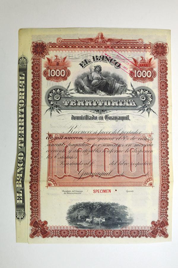 Banco Territorial en Guayaquil ca.1900-1920 Specimen Bond