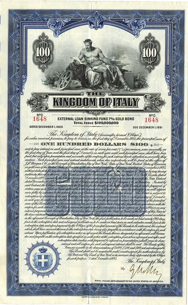 Kingdom of Italy, 1925 Issued Bond.