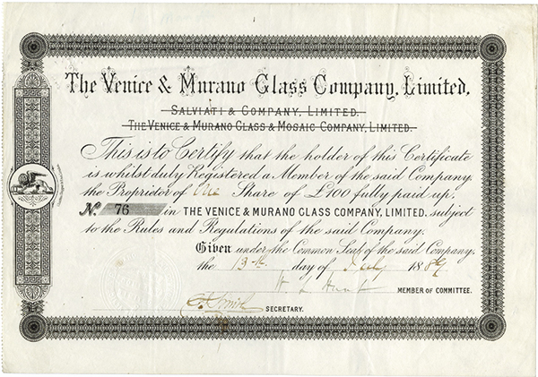 Venice and Murano Glass Co., LTD., 1889 Issued Stock