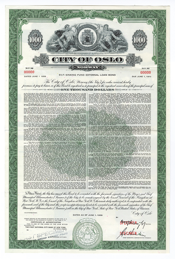 City of Oslo Specimen Bond.