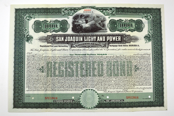 San Joaquin Light & Power Corp. 19xx ca.1910 Specimen Bond..