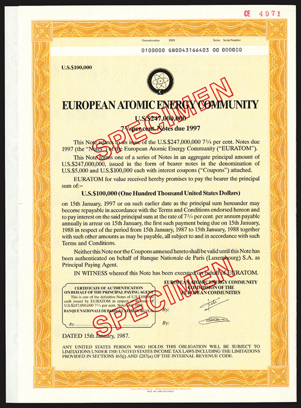 European Atomic Energy Community, 1987 Specimen Bond