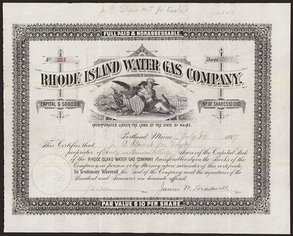 Rhode Island Water Gas Co., 1887 Issued Stock.