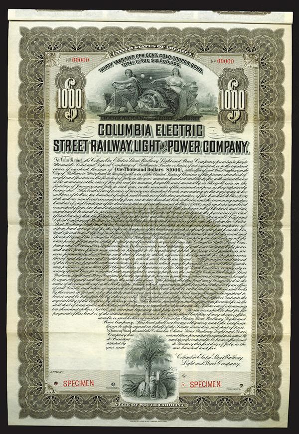 Columbia Electric Street Railway, Light and Power Co., 1905 Specimen Bond