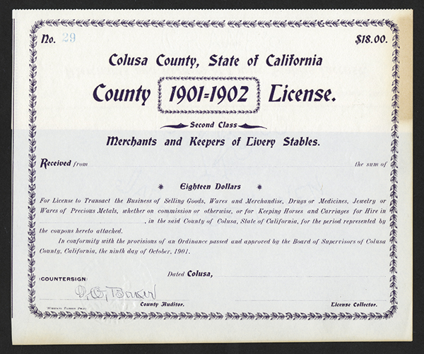 License from Colusa, 1901 California.