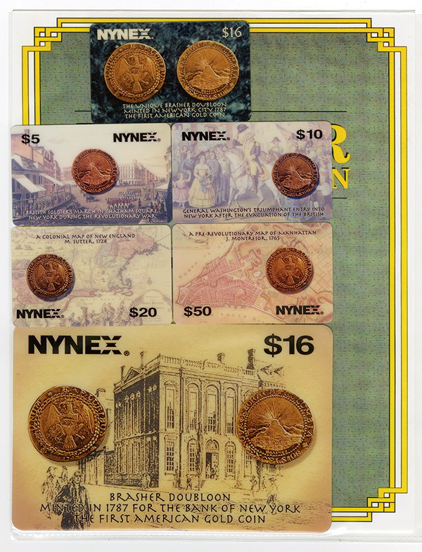 NYNEX Telephone Cards with Brasher Doubloon Photos on face, ca.2006.
