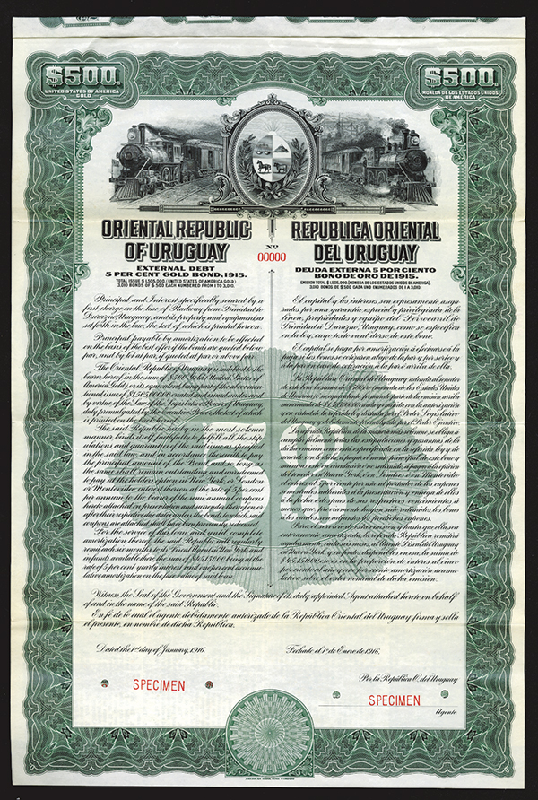 Oriental Republic of Uruguay, Trans-Continental Railway Co. 1916 Specimen Bond.