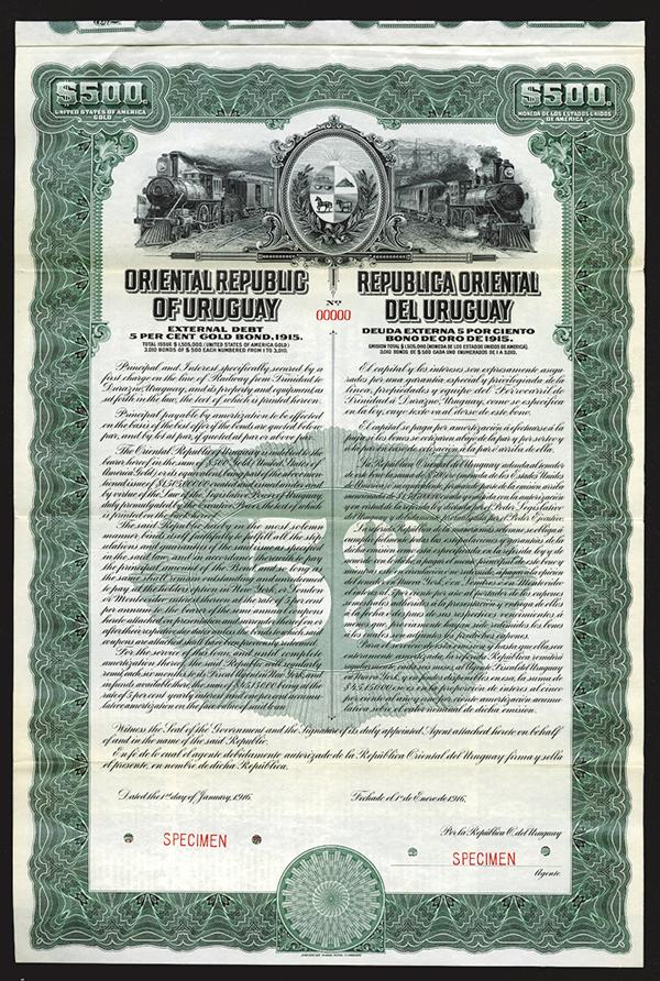 Oriental Republic of Uruguay, Trans-Continental Railway Co. 1916 Specimen Bond.